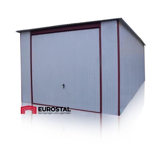 plechová garáž so spádom strechy dozadu 3,5 x5m kolor RAL 9010