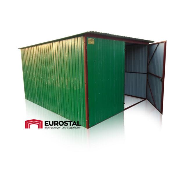 plechová garáž so spádom strechy dozadu 3x4m kolor RAL 6029