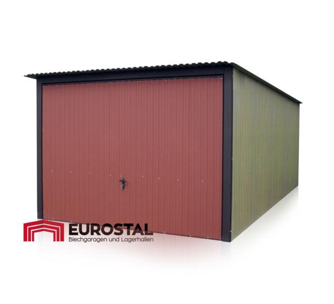 plechová garáž so spádom strechy dozadu 3x5m kolor BTX 3009 i RAL 1002