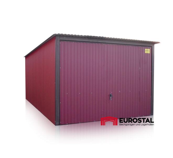 plechová garáž so spádom strechy dozadu 3x5m kolor RAL 3005
