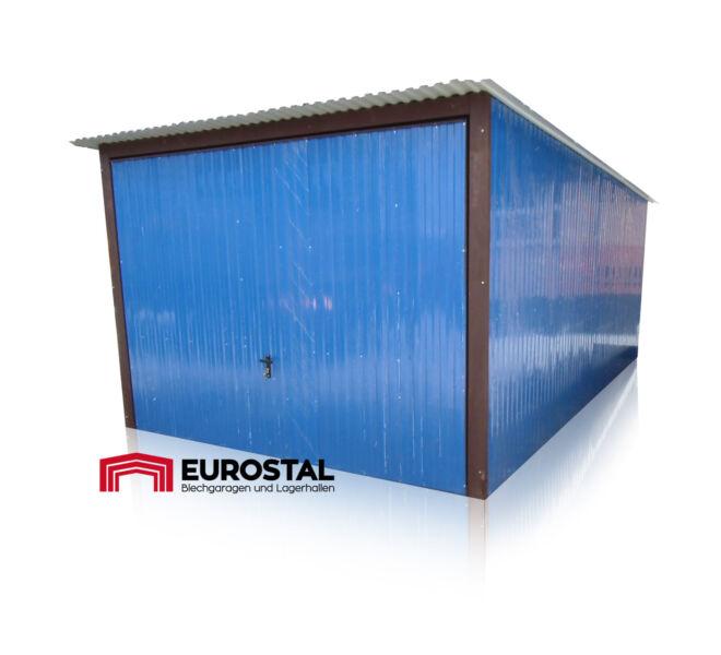 plechová garáž so spádom strechy dozadu 3x5m kolor RAL 5010