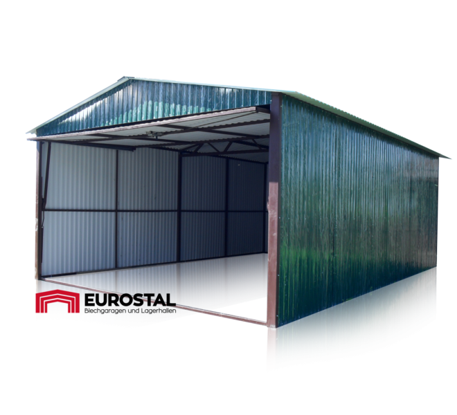 Plechová garáž 4x6 sedlová strecha
