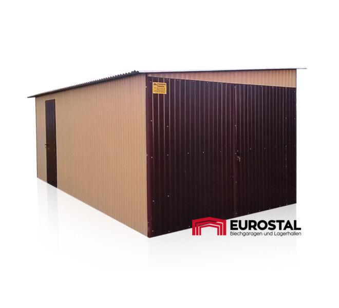 plechová garáž so spádom na bok 3x6 kolor RAL 1002 i RAL 8017