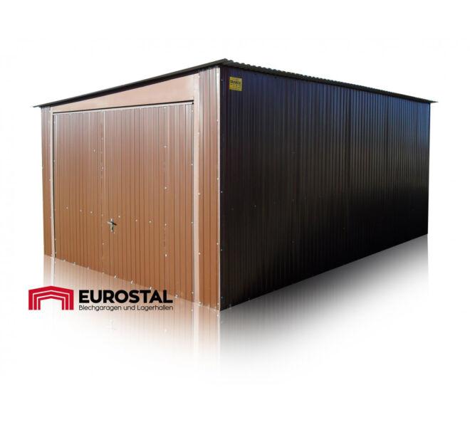 plechová garáž so spádom na bok 3x6 kolor RAL 8004