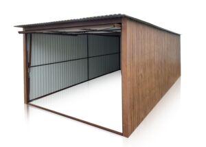 Plechová garáž 3x5 so spádom strechy dozadu-tmavý orech