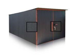Plechová garáž 3×5, Čierna Mat so spádom strechy dozadu