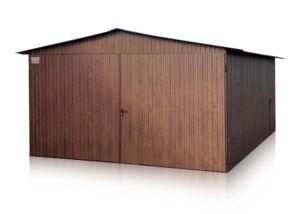 Plechový garáž 4x5 so sedlovou strechou vo farbe Orech Mat