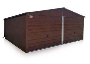 Plechový Dvojgaráž 6x6m so sedlovov strechou -Orech MAT