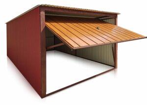 Plechová garáž 3x5m so sklonom dozadu, BTX 3009, vertikálna výplň brány