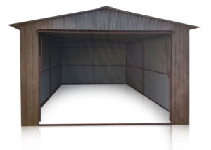 Plechová garáž 3,5x5m,tmavý orech,brána výklopná RAL9010