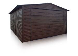 Eurostal - Plechová garáž 4x6m, orech tmavý
