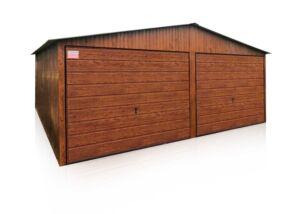 Plechová garáž 6×5m sedlová strecha matný zlatý dub