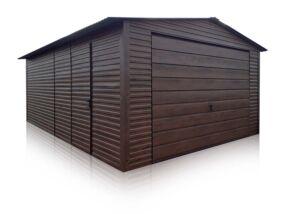 Plechová garáž 4x6m, orech tmavý